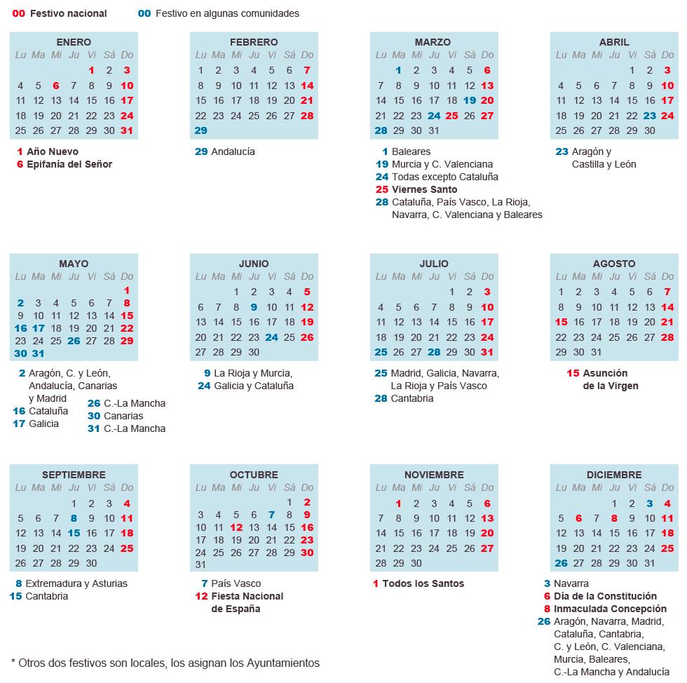 Calendario Laboral 2016 | Grupo Chapin | Alquiler de autocares en ...