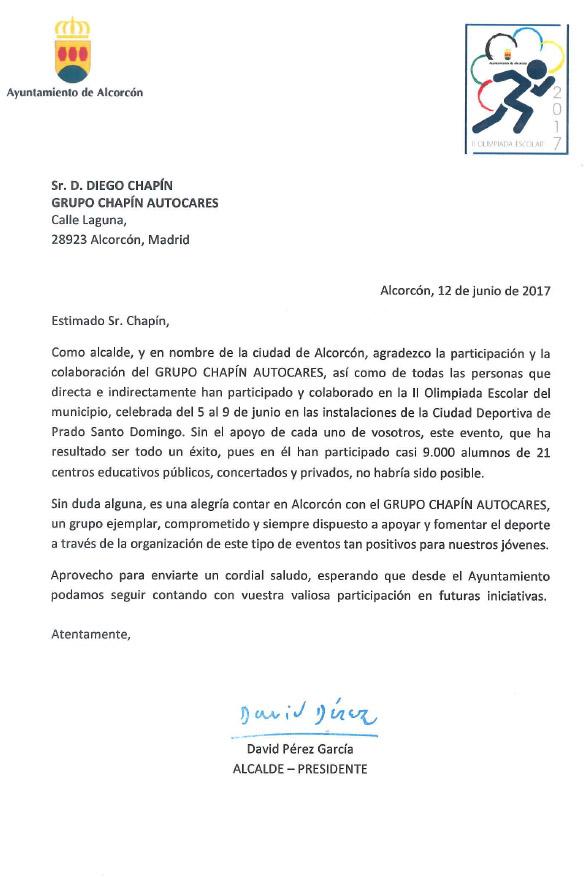 Carta De Agradecimiento Del Alcalde De Alcorcón Al Grupo Chapín Grupo Chapín