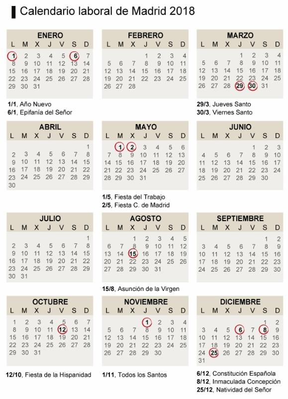 Calendario Laboral Fuenlabrada 2019.Calendario Laboral 2018 Grupo Chapin